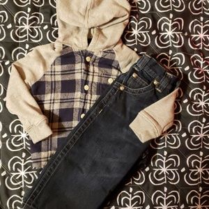 Oshkosh hooded flannel shirt and Jean's set